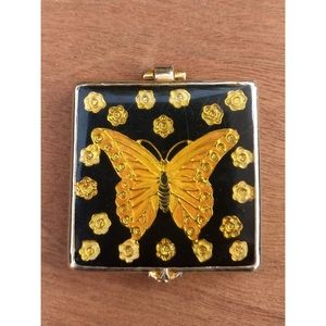 Vintage butterfly compact mirror gold black